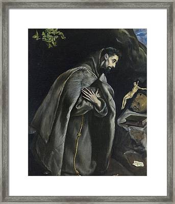 St Francis In Prayer Before The Crucifix Framed Print