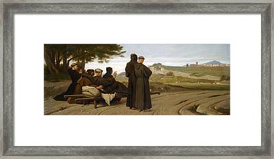 St Francis Of Assisi While Being Carried To His Final Resting Place At Saint-marie-des-anges Blesses Framed Print