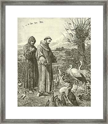 St Francis Preaching To The Birds Framed Print by Henry Stacey Marks
