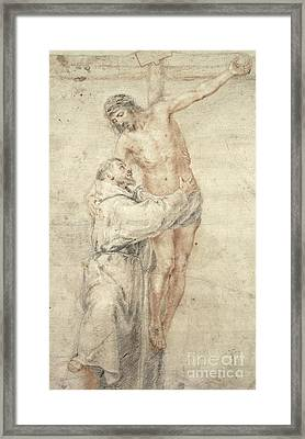 St Francis Rejecting The World And Embracing Christ Framed Print