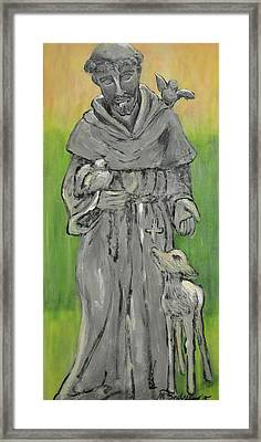 St Francis With Lamb I Framed Print by Maria Boudreaux