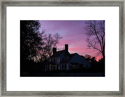 St George Tucker House At Sunset Framed Print