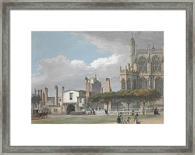 St. George's Chapel, Windsor, And The Entrance To The Singing Men's Cloister Framed Print by Paul Sandby