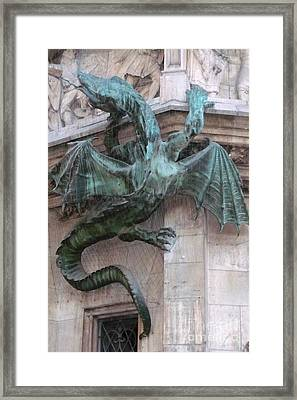 Dragon On Munich City Hall Framed Print by Carol Groenen