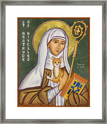 St. Gertrude Of Nivelles Icon Framed Print by Jennifer Richard-Morrow