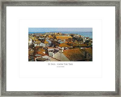Framed Print featuring the digital art St Ives - From The Tate by Julian Perry