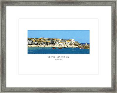 Framed Print featuring the digital art St Ives Sea And Sky by Julian Perry