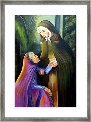 St Jeanne Jugan Of France With Old Lady Framed Print