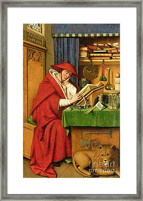 St. Jerome In His Study  Framed Print by Jan van Eyck