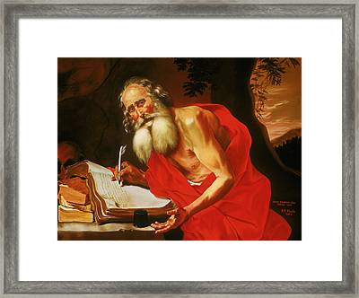 St. Jerome In The Wilderness Framed Print by Rebecca Poole