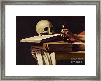 St. Jerome Writing Framed Print by Caravaggio