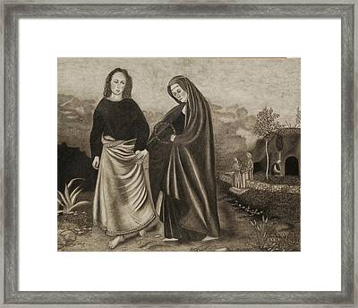St. John And Blessed Mother At The Tomb Framed Print