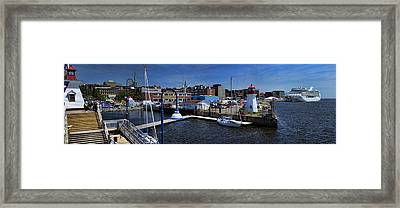 St. John New Brunswick Harbour With Cruise Ship Framed Print by David Smith