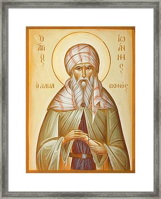 St John Of Damascus Framed Print by Julia Bridget Hayes