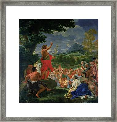 St John The Baptist Preaching Framed Print by II Baciccio - Giovanni B Gaulli