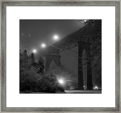 St. Johns Bridge On Snowy Evening Framed Print