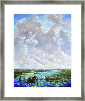 Framed Print featuring the painting St. John's Cows by AnnaJo Vahle