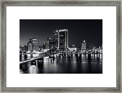 St Johns River Skyline By Night, Jacksonville, Florida In Black And White Framed Print