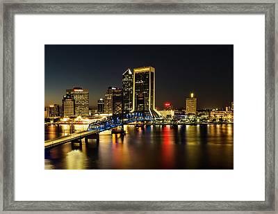 St Johns River Skyline By Night, Jacksonville, Florida Framed Print