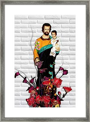St Joseph Holding Baby Jesus - Catholic Church Qibao China Framed Print