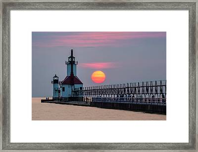 Framed Print featuring the photograph St. Joseph Lighthouse At Sunset by Adam Romanowicz