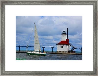 St. Joseph Lighthouse Sailboat Framed Print