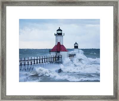 St. Joseph Lighthouse With Waves Framed Print
