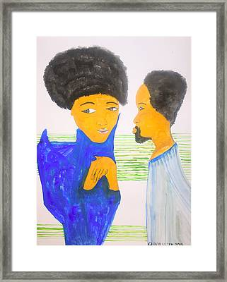 St Joseph Meets St Mary For The First Time In The Temple Framed Print by Gloria Ssali