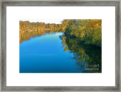 St. Joseph River View In Autumn     Indiana Framed Print by Rory Cubel