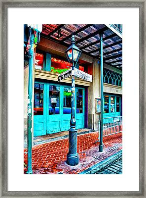St Louis And Bourbon Streets - New Orleans Framed Print by Bill Cannon