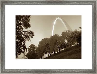 St. Louis Arch Behind The Trees - Sepia Framed Print by Gregory Ballos