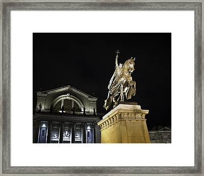 St Louis Art Museum With Statue Of Saint Louis At Night Framed Print