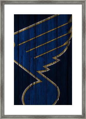 St Louis Blues Wood Fence Framed Print by Joe Hamilton