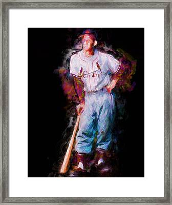 St. Louis Cardinal Stan Musial Portrait Busch Stadium Framed Print by David Haskett