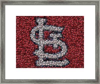 St. Louis Cardinals Bottle Cap Mosaic Framed Print