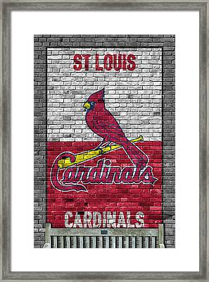 St Louis Cardinals Brick Wall Framed Print