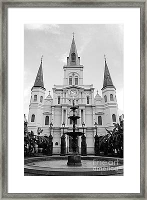 St Louis Cathedral And Fountain Jackson Square French Quarter New Orleans Black And White Framed Print
