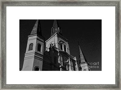 St. Louis Cathedral In Black And White Framed Print by John Giardina