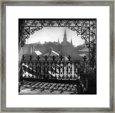 St Louis Cathedral In Frame Framed Print