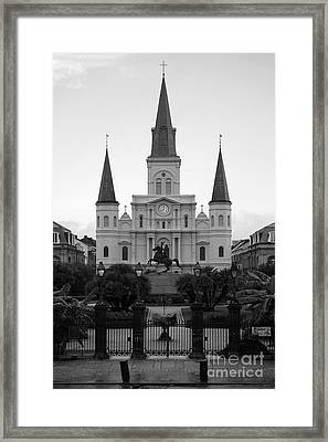 St Louis Cathedral On Jackson Square In The French Quarter New Orleans Black And White Framed Print by Shawn O'Brien