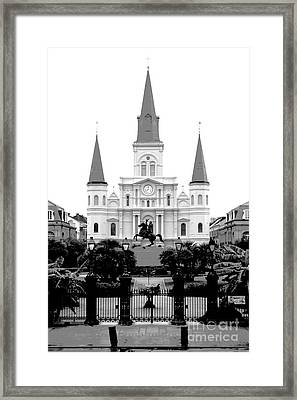 St Louis Cathedral On Jackson Square In The French Quarter New Orleans Conte Crayon Digital Art Framed Print