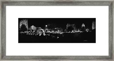 St. Louis City Garden Night Bw For Glass Framed Print
