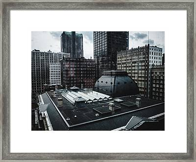St. Louis Cityscape Through Window Framed Print by Dylan Murphy