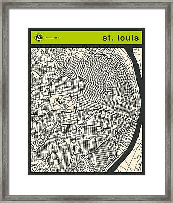 St Louis Street Map Framed Print by Jazzberry Blue
