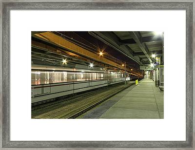 St Louis Metro Train At The Casino Queen Station Framed Print