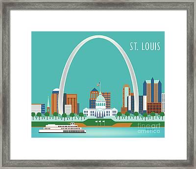 St. Louis Missouri Horizontal Skyline Framed Print by Karen Young