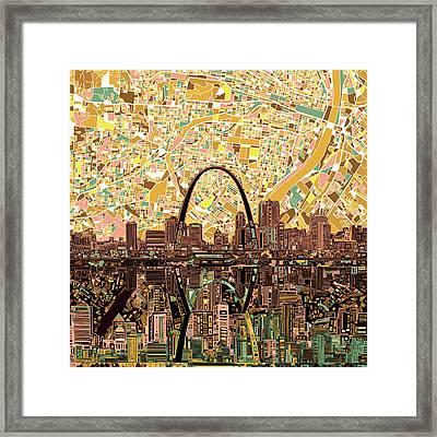 St Louis Skyline Abstract 11 Framed Print