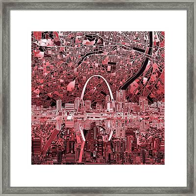 St Louis Skyline Abstract 3 Framed Print by Bekim Art