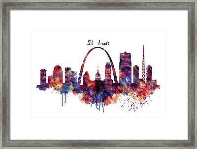 Framed Print featuring the digital art St Louis Skyline by Marian Voicu