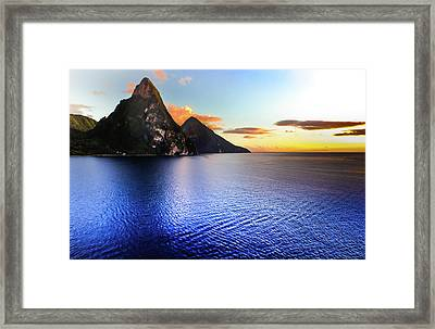 Framed Print featuring the photograph St. Lucia's Cobalt Blues by Karen Wiles